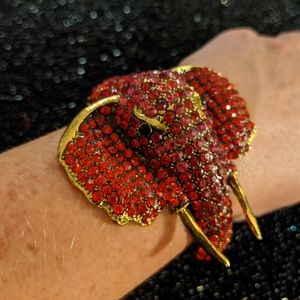 Statement red rhinestone elephant bracelet